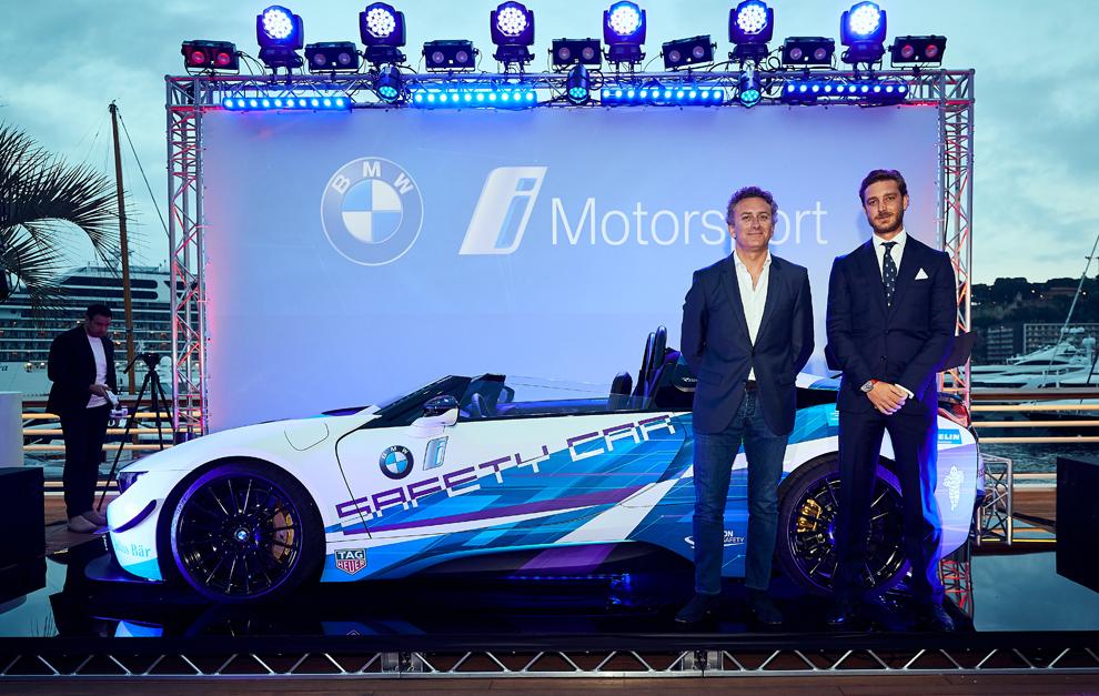 Alejandro Agag y Pierre Casiraghi en la presentación del BMW i8...