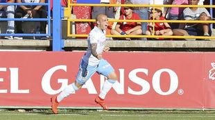 Pombo celebra entre lágrimas su gol ante el Extremadura.