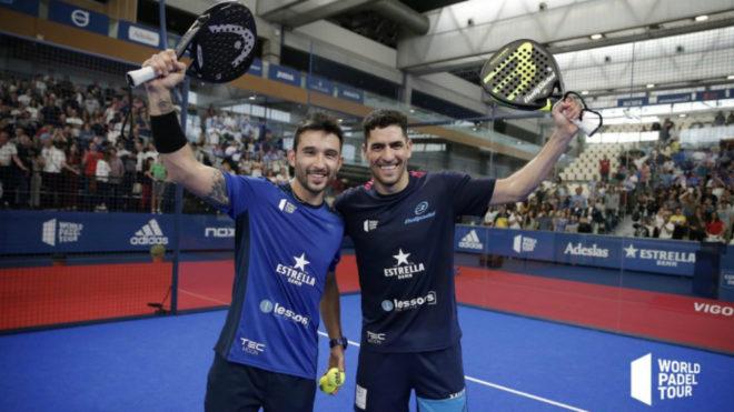 Sanyo Gutiérrez y Maxi Sánchez celebran su victoria.