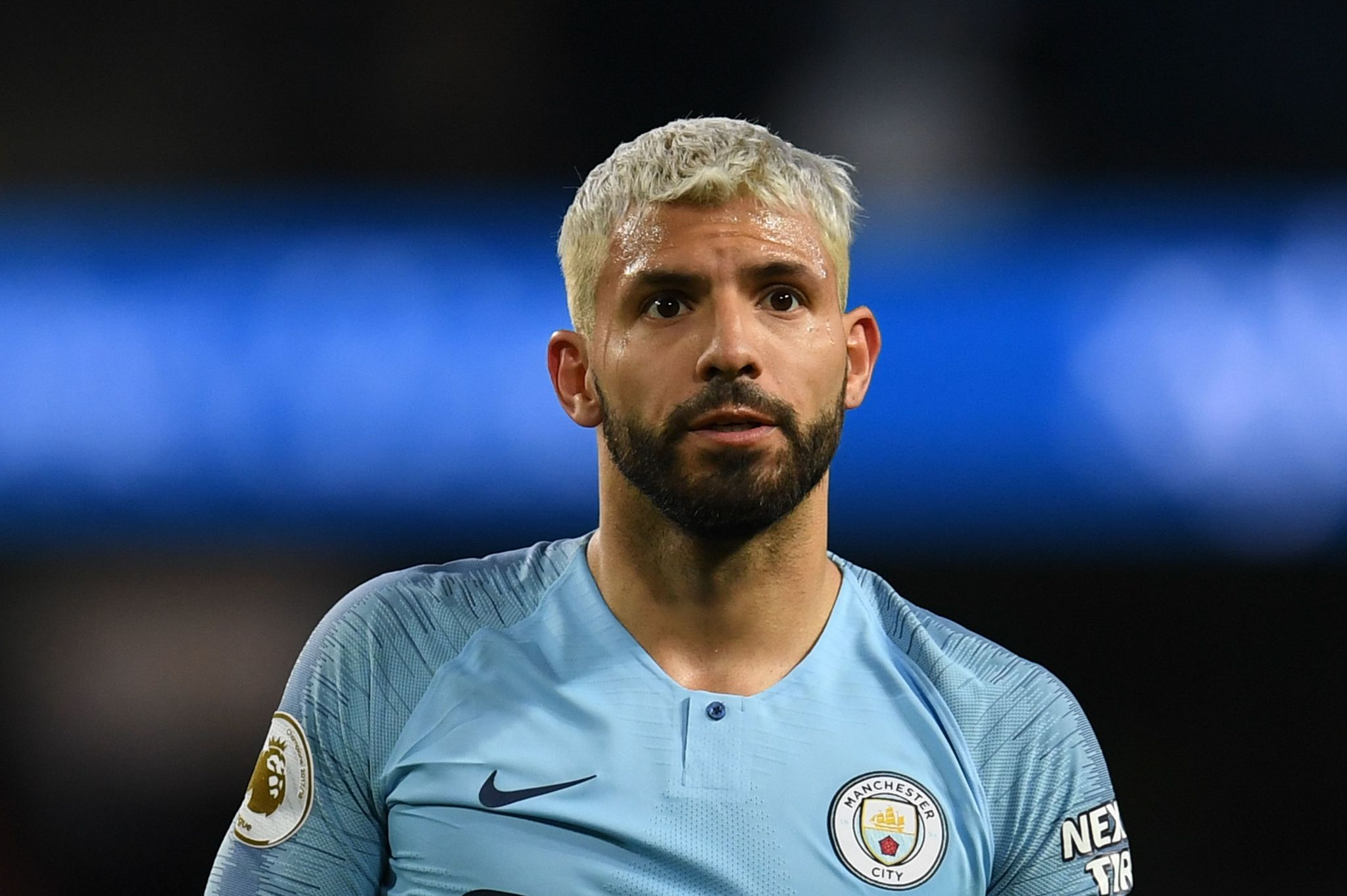 Manchester Citys Argentinian striker Sergio <HIT>Aguero</HIT> reacts during the English Premier League football match between Manchester City and Leicester City at the Etihad Stadium in Manchester, north west England, on May 6, 2019. (Photo by Paul ELLIS / AFP) / RESTRICTED TO EDITORIAL USE. No use with unauthorized audio, video, data, fixture lists, club/league logos or live services. Online in-match use limited to 120 images. An additional 40 images may be used in extra time. No video emulation. Social media in-match use limited to 120 images. An additional 40 images may be used in extra time. No use in betting publications, games or single club/league/player publications. /