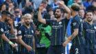 Los futbolistas del City celebran uno de los tantos al Brighton