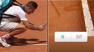 Marton Fucsovics fotografiando con su móvil el bote de la pelota en...
