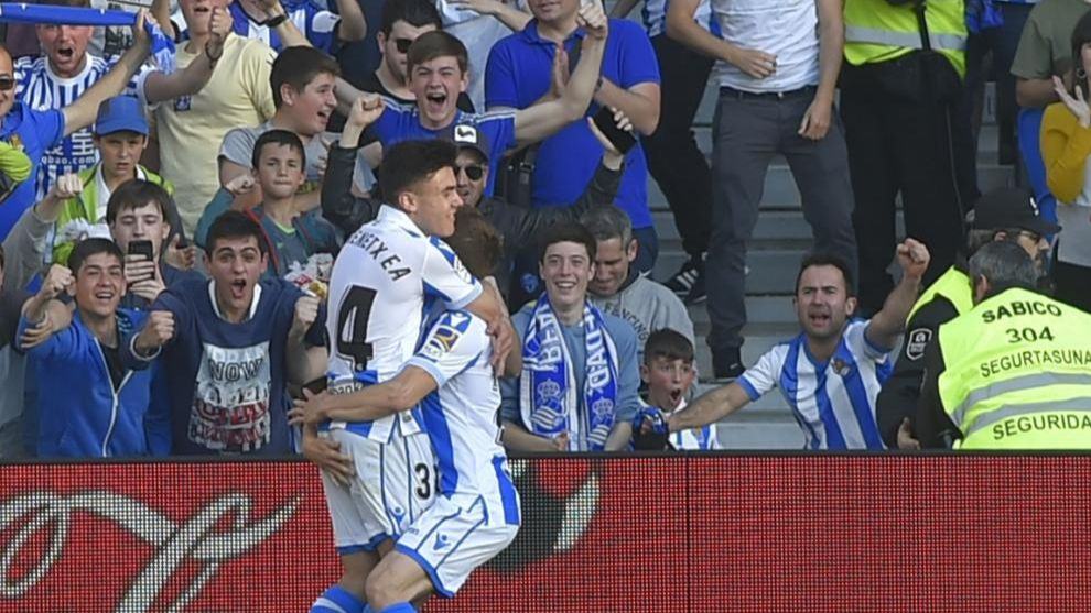 Barrenetxea celebrates his first ever goal.