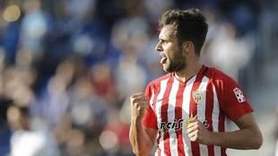 Álvaro celebra uno de sus 18 goles en la presente temporada