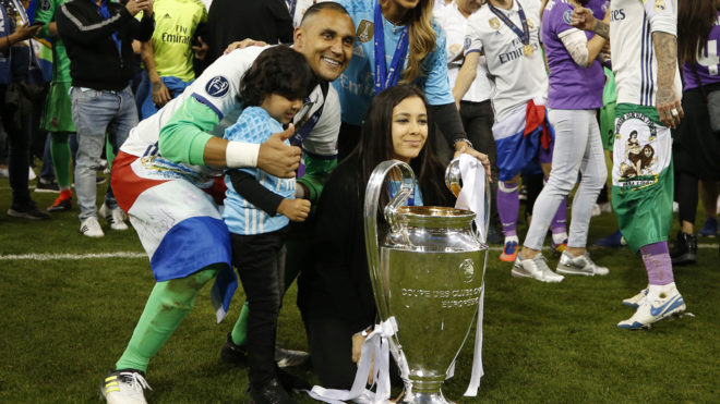 Keylor Navas with his family after the Champions League final in...