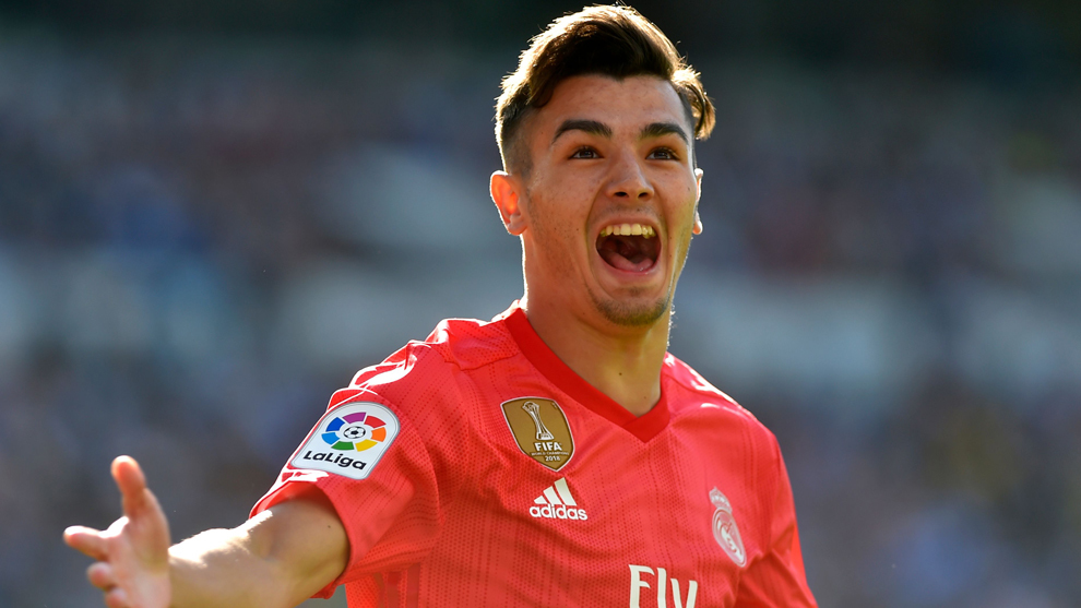 Brahim grita el gol que marcó en Anoeta, su estreno con el Madrid.