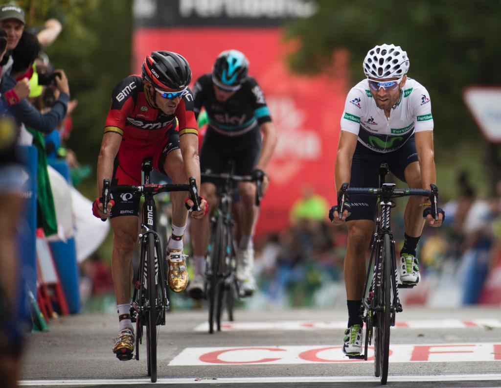 "Movistars Spanish cyclist Alejandro Valverde (R) and BMCs Spanish cyclist <HIT>Samuel</HIT><HIT>Sanchez</HIT> cross the finish during the 9th stage of the 71st edition of ""La Vuelta"" Tour of Spain, a 164,5 km route between Cistierna to Oviedo, Alto del Naranco on August 28, 2016. / AFP PHOTO / JAIME REINA"
