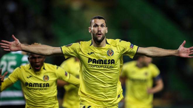 Pedraza celebra un gol en Europa League.