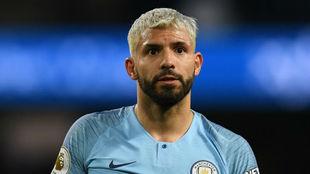 Agüero, en un partido con el Manchester City.