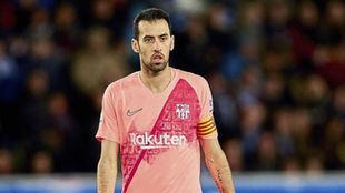 Busquets, como capitán del Barça.