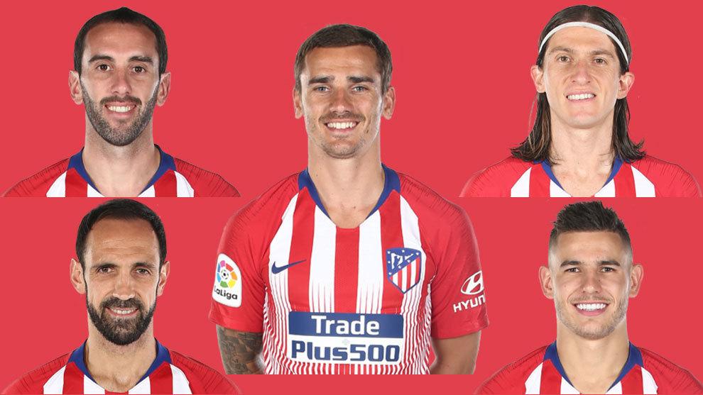 Godin, Griezmann, Filipe Luis, Juanfran and Lucas Hernandez.