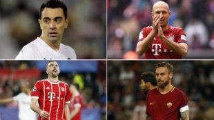 Xavi, Robben, Ribéry y De Rossi.