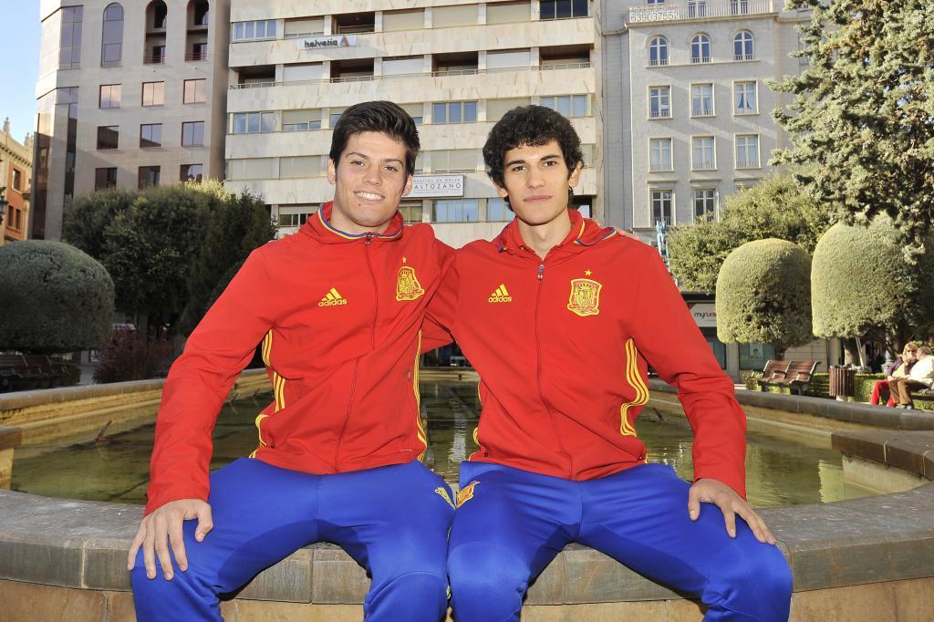 Albacete 14 11 16 Los jugadores de la selección nacional de fútbol sub 21 Jorge <HIT>Meré</HIT> (izq) y Jesús <HIT>Vallejo</HIT> en Albacete