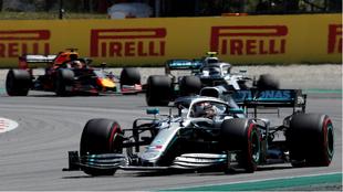 Hamilton, Bottas y Verstappen, en el Circuit.