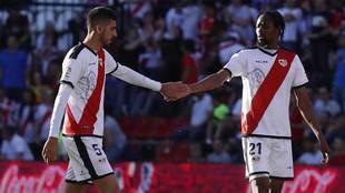 Catena y Ba, en el partido del Rayo Vallecano ante el Valladolid.