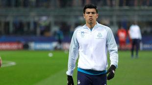 Guti, previo a un partido del PSV.