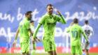 Borja Mayoral celebra el gol que marcó en Anoeta con el Levante.