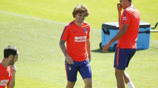 Griezmann, en un entrenamiento con el Atlético.