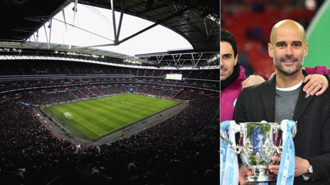 Wembley y Guardiola con la Copa de la Liga