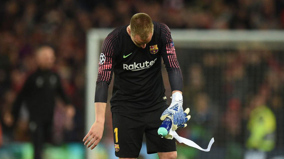 Ter Stegen after the defeat to Liverpool at Anfield.