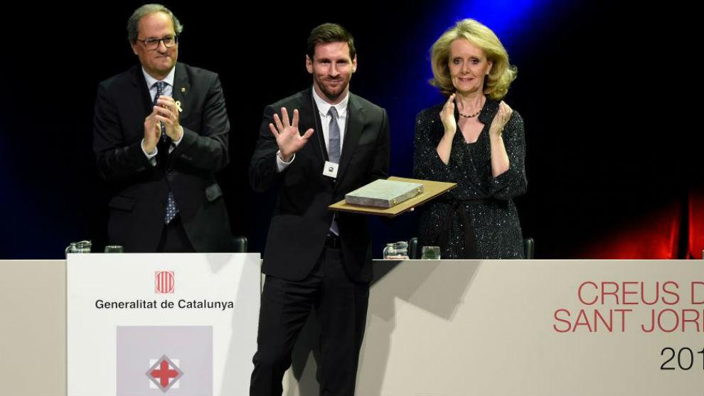 Messi, con la cruz de Sant Jordi.
