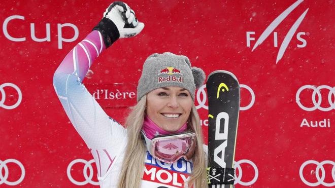 Lindsey Vonn, en el podio.