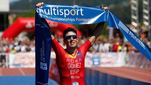 Javier Gómez Noya, en el Mundial de triatlón de larga distancia.