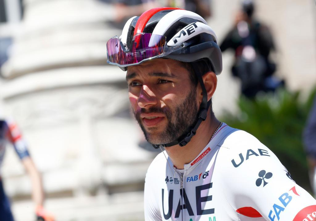 Team UAE Emirates rider Colombias Fernando Gaviria is picture before taking the start of stage seven of the 102nd <HIT>Giro</HIT> dItalia - Tour of Italy - cycle race, 185kms from Vasto to LAquila on May 17, 2019. (Photo by Luk BENIES / AFP)