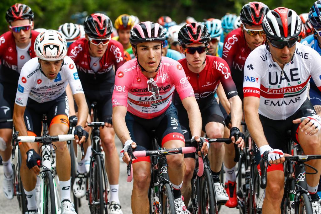 Team UAE Emirates rider and overall leader Pink Jersey holder Italys Valerio Conti rides in the pack during stage seven of the 102nd <HIT>Giro</HIT> dItalia - Tour of Italy - cycle race, 185kms from Vasto to LAquila on May 17, 2019. (Photo by Luk BENIES / AFP)