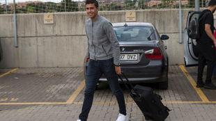 Rodrigo a su llegada a una concentración de la Selección.