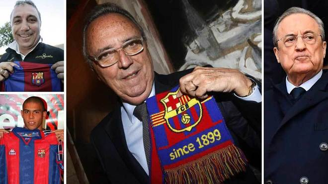 Joan Gaspart (centre) holding a Barcelona scarf.