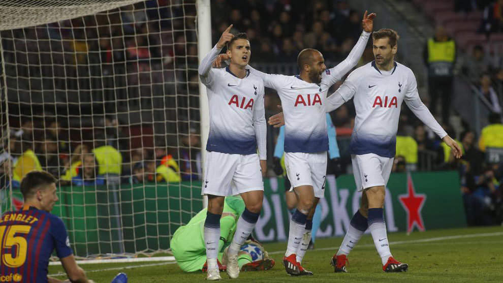 Picture from Barcelona's clash with Tottenham Hotspur in the Champions...