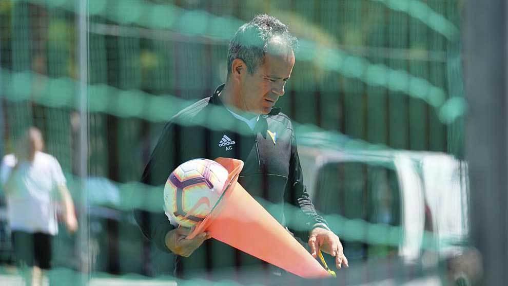 Álvaro Cervera, durante un entrenamiento de esta semana