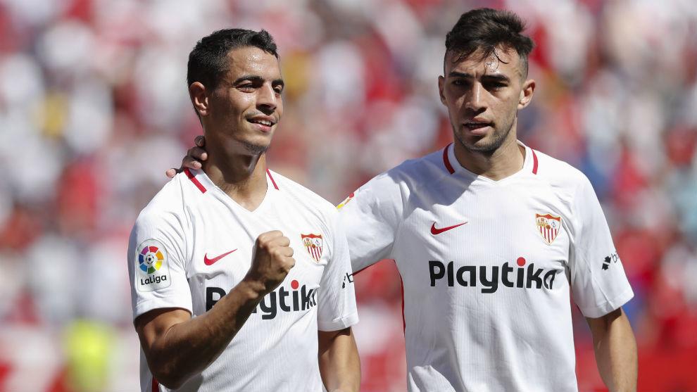 Ben Yedder (28) y Munir (23) celebran un tanto del franco-tunecino.
