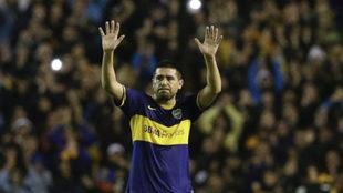 Riquelme en uno de sus últimos partidos con Boca.