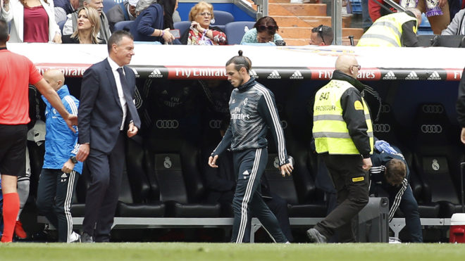 Gareth Bale in his tracksuit at the Santiago Bernabeu on Sunday