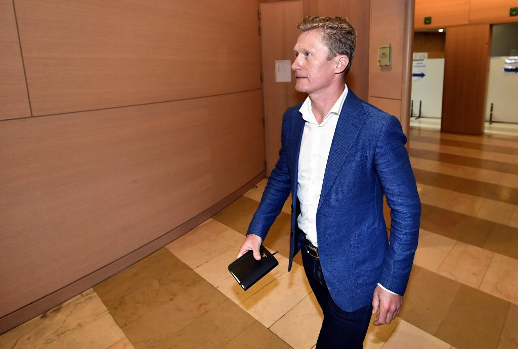 Astana Pro Team General Manager Alexandr <HIT>Vinokourov</HIT> arrives for a session of the correctional court of Liege on the alledged fixing of the Liege-Bastogne-Liege classic cycling race in 2010 on May 7, 2019. (Photo by ERIC LALMAND / BELGA / AFP) / Belgium OUT