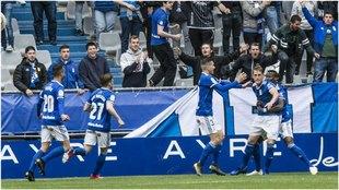 Así celebró el Oviedo su gol ante el Numancia.