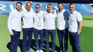 El cuerpo técnico del Betis, en el Bernabéu