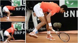 Djokovic rompió la raqueta en el tercer set