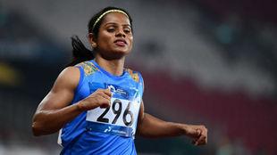La atleta Dutee Chand, en carrera