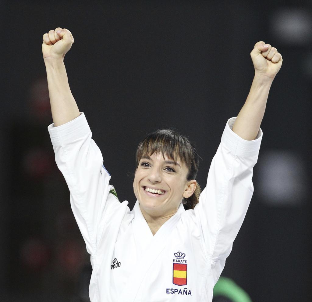 Sandra celebra el título Mundial ante su gente en Madrid el año...