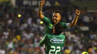 Celebración de los jugadores esmeraldas.