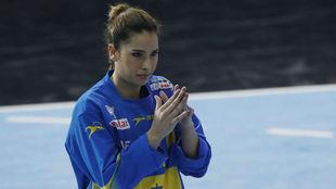 La guardameta Estela Carrera durante un partido con las...