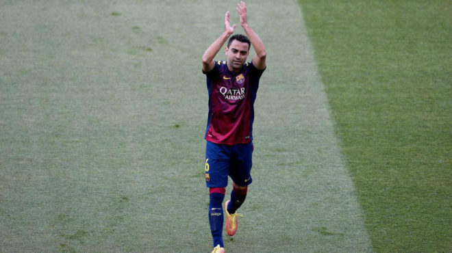 Xavi saying goodbye to the Camp Nou.