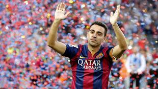 Xabi en su despedida del Camp Nou