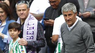 Quique Setién en el Bernabéu este domingo
