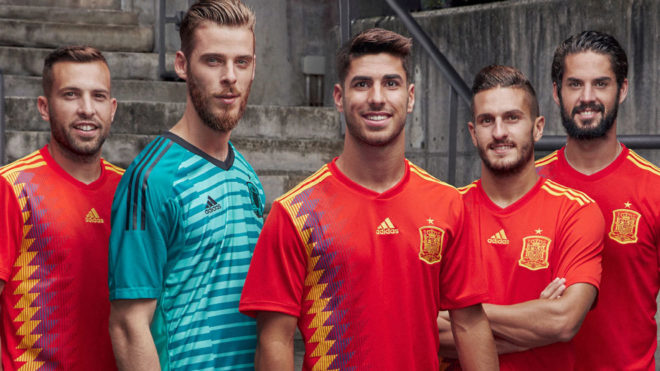 Spain's most recent kit, which is made by Adidas.
