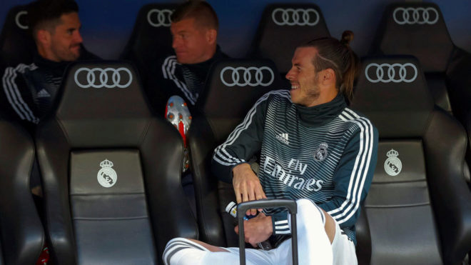 Gareth Bale on the bench during the 2-0 defeat to Real Betis at the...