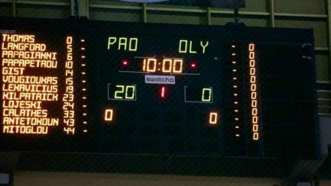 El marcador del OAKA del partido que nunca se jugó